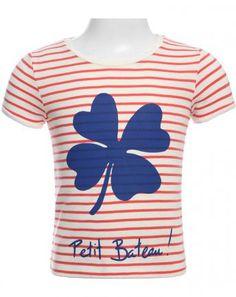 T-Shirt KLEEBLATT gestreift in hummer/weiß