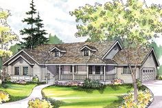 The house plan is a great single story country style house plan with 1634 total living square feet. A nostalgic railed porch wraps across the front and around to the right of this spacious country home plan. Natural light spills into a vaulted entry throu Country Style House Plans, Country Style Homes, Zeina, Monster House Plans, Contemporary House Plans, Ranch Style Homes, Ranch Homes, Ranch House Plans, Story House