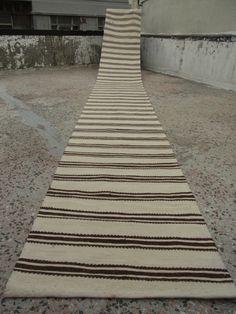 19 x 2.3 ft Runner Organic Wool Rug Kilim Vintage Kelim Runner by zkrugs