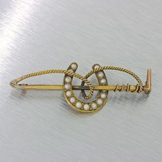 1880s Antique Victorian 14k Solid Yellow Gold Horseshoe Pearl Bar Brooch Pin