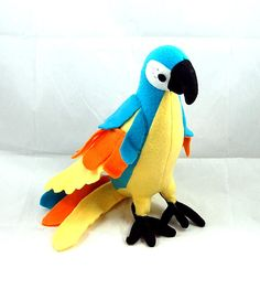 Fleece Parrot - Turquoise, Orange, Yellow  12 inches  $30