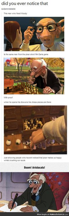 Disney/Pixar's Old Man.<I've always liked Gari from PIXAR, but George of Aristocats willALWAYS be top knotch in my book! Disney Pixar, Disney Animation, Disney And Dreamworks, Disney Magic, Disney Secrets In Movies, Funny Disney Memes, Disney Jokes, Disney Facts, Pixar Facts
