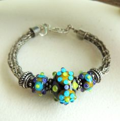Artisan Lampwork and Sterling Viking Knit Bracelet by rickitic, $46.50