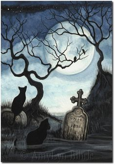 Black Cat Society - Quiet Night Under Full Moon - ArT Prints by BiHrLe - Ipuçları - Halloween Halloween Painting, Vintage Halloween, Halloween Crafts, Halloween Buckets, Desenhos Halloween, Halloween Wallpaper, Halloween Pictures, Moon Art, Gothic Art