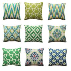 Due to the difference between different monitors, the picture may not reflect the actual color of the item. Green Cushion Covers, Blue Pillow Covers, Green Cushions, Blue Pillows, Pillow Set, Throw Pillows, Geometric Cushions, Ikat, Cotton Linen