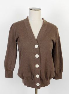NEW Boden Big Button Brown Cardigan Sweater Wear to Work Career Vneck 14 L  M #Boden #Cardigan