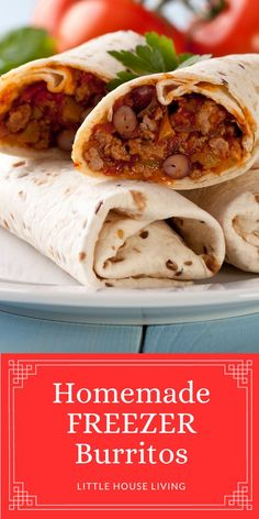 Need to make some simple meals for the freezer? Here's how to make delicious homemade Beef and Bean Burritos to have for quick meals! Bean Burritos, Quick Meals, Food Storage, Freezer, Beans, Appetizers, Lunch, Homemade, Snacks