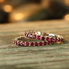 Anniversary Rings Ruby Eternity Band Ring White Gold Women von LaMoreDesign What do you think of the colour? Half Eternity Ring, Eternity Ring Diamond, Eternity Bands, Diamond Wedding Bands, Solitaire Ring, Diamond Rings, Ruby Jewelry, Fine Jewelry, Bracelets