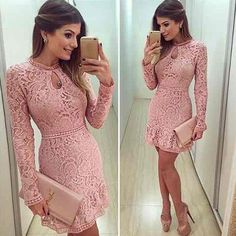 Women's Round Neck Long Sleeved Pink Openwork Lace Dress - Pink