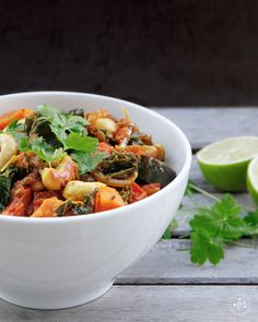 Sweet Potato & Kale Curry It's warming, delicious and, for those to whom it matters, this curry is vegan, sugar-free, gluten-free, Paleo, #IQS-friendly, featuring an impressive cast of nutrient-dense ingredients. #missmarzipan #glutenfree #paleo #sugarfree #kale #vegan
