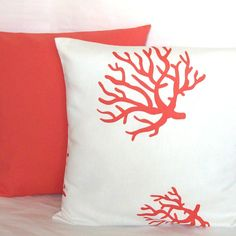 Coral Pillow Covers - TWO 18x18 inch Reef and Solid Decorative Cushion Covers - Coral Reef on White Combo Set