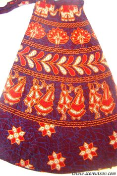 Long Skirt Wrap Around Mahogany Jaipuri Indian Ethnic from Rajasthan in West India #handmade #etsyretwt