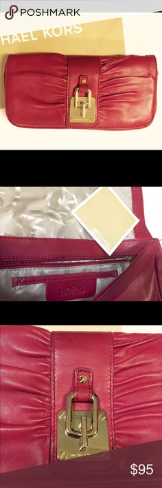 💯% Authentic MK clutch, excellent condition! Authentic Michael Kors Clutch in elegant red leather, excellent condition! Perfect for date nights! Authenticity is shown on the last picture posted, ships ASAP! MICHAEL Michael Kors Bags Clutches & Wristlets