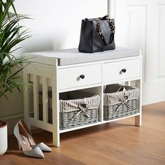 VonHaus Hall Seat & Storage Unit. Hallway White & Grey MDF Storage Furniture - Drawers & Wicker Baskets with Striped Washable Lining & Bow Detail. Ideal For Scarves, Gloves, Hats, Bags & Mail: Amazon.co.uk: Kitchen & Home