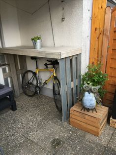 # Fahrradgarage # Paletten Possibly the best and most commo Bicycle Storage Shed, Outdoor Bike Storage, Bike Shed, Shed Storage, Garage Velo, Bicycle Garage, Wooden Bicycle, Bicycle Wheel, Folding Bicycle