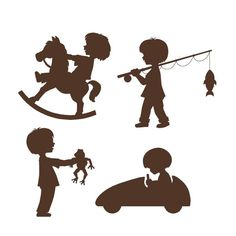 Silhouette Boys Wall Mural Place these delightful silhouettes around the room above or below a chair rail or even above a dresser. Match it up with the Silhouette Fun for Boys for a fanciful, yet form Kids Silhouette, Silhouette Curio, Silhouette Portrait, Silhouette Projects, Decoration Creche, Disney Invitations, Silhouettes, Mural Wall Art, Disney Cars