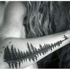 """Reflective trees, also a soundwave of a father saying the word """"Babydoll"""" to his daughter. A special request to represent a nickname and a loving memory of a girl and her father in a familiar setting outdoors fishing. Body Art Tattoos, New Tattoos, Tattoos For Guys, Sleeve Tattoos, Tatoos, Tree Tattoos On Arm, Willow Tree Tattoos, Leg Tattoos Women, Word Tattoos"""