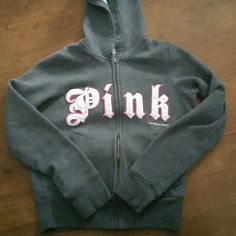 Victoria Secret Hoodie Adorable XS VS gray hoodie.  Looks more tween size. I would say it would fit a 12/14 girl.  If interested I can take measurements for you. No rips, tears or stains from my smoke free home. Victoria Secret Pink Jackets & Coats