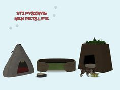3t2 pyszny16 New Pets Life Set Pet Bed Big (2 subsets) - comes in Shasta's yeti pallete and pirate woods. Floral & Mouse Pet Bed - frame comes in original colors and the cushion is slaved to maxis...