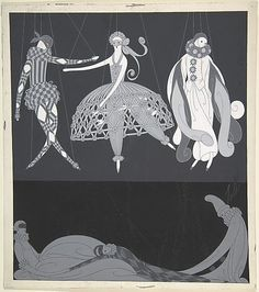 """Costumes pour les Bals Masqués: Arlequin, Colombine, Pierrot,"" Illustration for Harper's Bazaar  Erté (Romain de Tirtoff)  (French (born Russia), St. Petersburg 1892–1990 Paris)  Date: 1922 Medium: Ink and gouache"