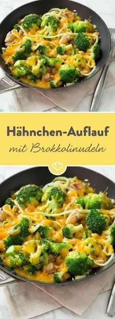 Chicken casserole with broccoli spirals-Hähnchen-Auflauf mit Brokkoli-Spiralen Broccoli spirals replace the calories, but are just as filling. Baked with tender chicken and spicy cheese, this can only go down well! Healthy Chicken Recipes, Low Carb Recipes, Cooking Recipes, Grilling Recipes, Law Carb, Clean Eating, Healthy Eating, Healthy Food, Chicken Casserole