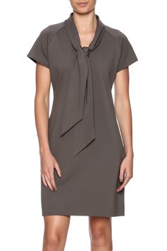 Short sleeved dress featuring an A-line silhouette and architectural neck-tie   Dejeuner Dress by Evolue Apparel. Clothing - Dresses - Work Clothing - Dresses - Short Sleeve Rhode Island