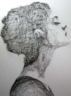 Beautiful thread drawings - by Debbie Smyth - Incredible portraits and art… L'art Du Portrait, Portraits, Arte Linear, Inspiration Artistique, Thread Art, A Level Art, Contemporary Artwork, Installation Art, Art Installations