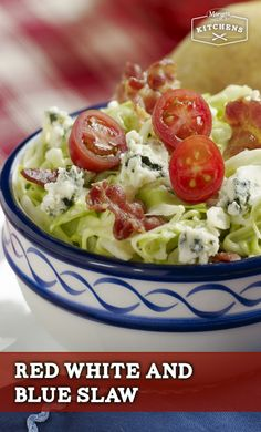Red, White and Blue Slaw: Cabbage, bacon bits and blue cheese mixed with Marzetti Original Slaw Dressing and garnished with cherry tomatoes is what makes this recipe red, white and blue.