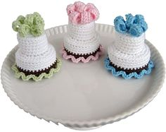 Two-Tier Cake Cake With white, form an adjustable ring. Rnd 1: Ch 1, 6 sc in ring, join - 6 sc. Rnd 2: Ch 1, 2 sc in each st, join - 12 sc. Rnd 3: Ch 1, [sc in next st, 2 sc in next] 6 times, join -...