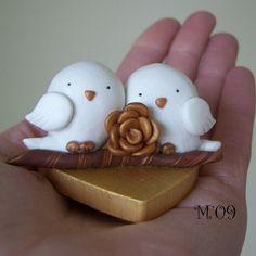 Tweets in Love White Bird Wedding Anniversary Polymer Clay Cake Topper   Flickr - Photo Sharing!
