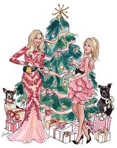 Скрапбукинг, рукоделие, Новогодний иллюстрации, девушки