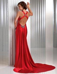 (NO.008019)2011 Style Sheath / Column V-neck Floor-length Sleeveless Elastic Woven Satin  Prom Dress / Evening Dress