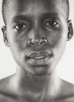"""Mandi"" - Ruan Huisamen, charcoal, on paper, 2015 {figurative realism art female head #hyperreal face portrait drawing} Redfox999.deviantart.com"