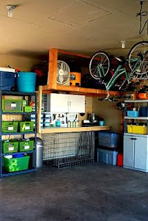 hanging bikes and labeling stuff  http://iheartorganizing.blogspot.com/2010/05/may-featured-space-outdoors-garage.html