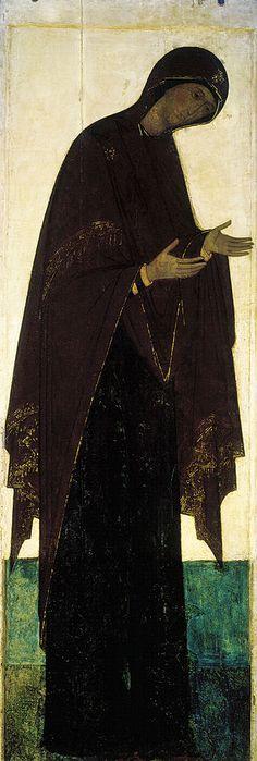 Virgin Mary from Vasilyevskiy chin (15th c., GTG) - Andréi Rubliov - Wikipedia, la enciclopedia libre