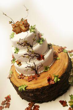 Autumn wedding cake  - Great 5 tier autumn wedding cake with owls
