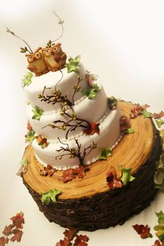 Autumn wedding cake  - Great 5 tier autumn wedding cake with owls