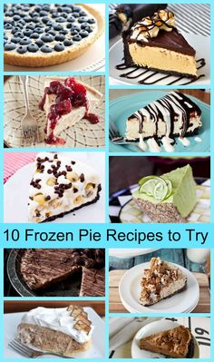 10 Frozen Pie Recipes to Try This Summer!  Recipes for pies such as Peanut Butter Cup, Cookie Dough, Chocolate-Espresso, Blueberry-Coconut, Kahlua Ice Cream and more!!