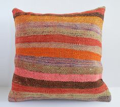 ON SALE - Organic Shine Society Modern Bohemian Throw Pillow. Handwoven Wool Vintage Tribal Turkish Kilim Pillow Cover 16x16 striped