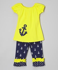 Another great find on #zulily! Yellow Anchor Tunic Set - Infant, Toddler & Girls by Sew Cute Monograms #zulilyfinds