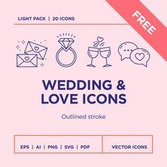 Free Wedding & Love Icons Set