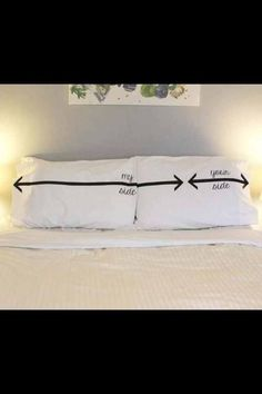 Need these pillow cases! my side is the tiny one, matthew's such a bed hog! Sewing Pillows, Diy Pillows, Cushions, Get A Boyfriend, Fluffy Pillows, My Side, Its A Wonderful Life, Living Room Bedroom, Cool Things To Make