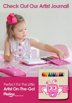 P'kolino's Artist Journal for kids.Perfect for the little artist on the go! This playful set includes:  -10 hexagon colored pencils,  -Pad of bright white paper -Playful carrying case