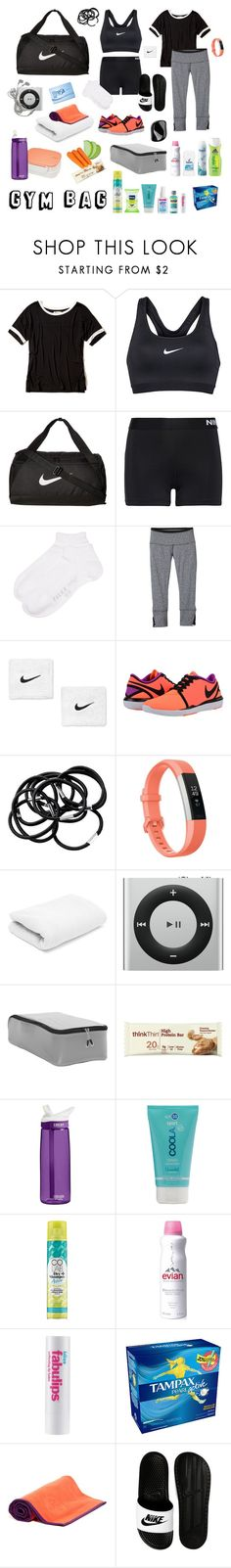 """""""My Gym Bag"""" by ancushe ❤ liked on Polyvore featuring Hollister Co., NIKE, Falke, prAna, H&M, Fitbit, eBags, Takenaka, CamelBak and Tangle Teezer"""