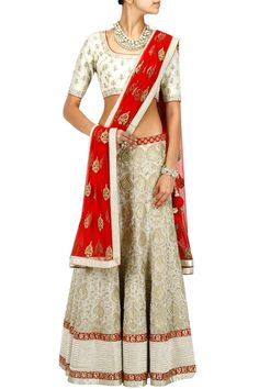 SVA White and red embroidered lehenga set