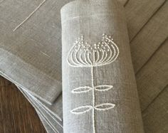 Linen Placemats Set of 6 Table Linen Tabletop Fabric by Rokasdarbi