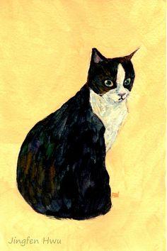 Original cat art painting of A Tuxedo Cat Looking by JingfenHwu
