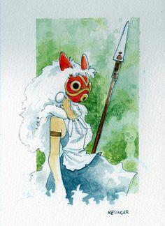 a watercolor and pencil sketch from my favorite miyazaki movie. Studio Ghibli Wallpaper, Studio Ghibli Background, Studio Ghibli Art, Totoro, Hayao Miyazaki, Watercolor Illustration, Watercolor Art, Desenho Tattoo, Ghibli Movies
