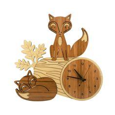 Fox Log Bamboo Wall Clock....Etsy.