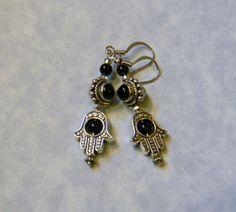 Onyx and Bali Silver Hamsa Earrings by EEEMAsBeads on Etsy